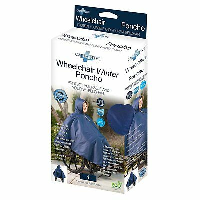 Care Active Wheelchair Winter Poncho Color Navy Ultra durable and Waterproof HQ
