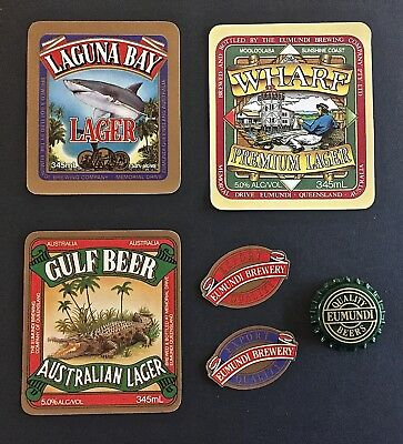 🍺 5 ☛ Eumundi Beer Brewery Labels + A Bottle Cap - New - Never On A Bottle 🍻