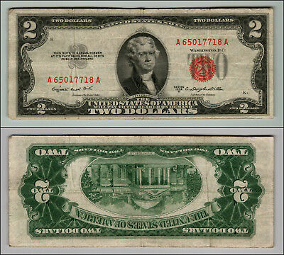 1953B $2 Dollar Bill Old Us Note Legal Tender Paper Money Currency Red Seal P608