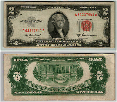 1953A $2 Dollar Bill Old Us Note Legal Tender Paper Money Currency Red Seal P9