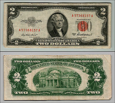 1953A $2 Dollar Bill Old Us Note Legal Tender Paper Money Currency Red Seal Z213