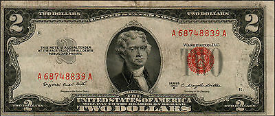1953B $2 Dollar Bill Old Us Note Legal Tender Paper Money Currency Red Seal Q11