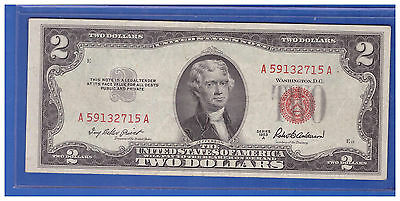 1953A $2 Dollar Bill Old Us Note Legal Tender Paper Money Currency Red Seal T346