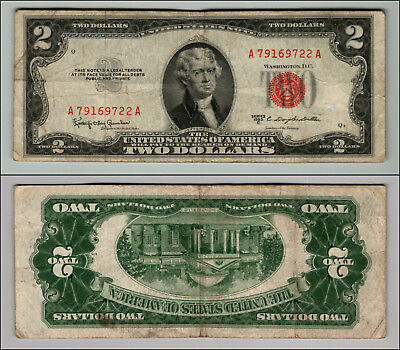 1953C $2 Dollar Bill  Us Note Legal Tender Paper Money Currency Red Seal P740