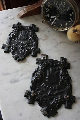 ANTIQUE VICTORIAN PRESSED TIN CHURCH * PEACE * PLAQUE SIGN pair SMALL & LARGE