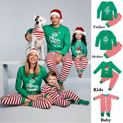 US STOCK Xmas Family Matching Christmas Pajamas Set Men Women Kids Sleepwear