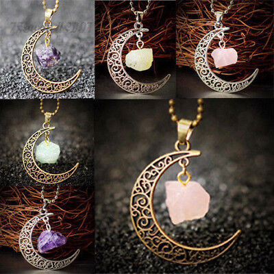 Rose Quartz Moon Gemstone Pendant Natural Crystal Healing Stone Necklace Gift