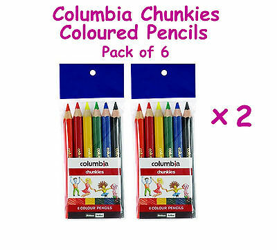 Columbia Chunkies Coloured Pencils-Pack of 6