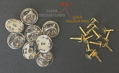 👀 50 ☛ Silver Colour Butterfly Clutch Clasps + 50 Gold Colour Backing Pins