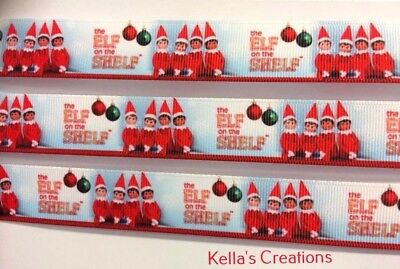 "The Elf on the Shelf Christmas Grosgrain Ribbon 7/8"" sold by 2 M - Craft- Xmas"