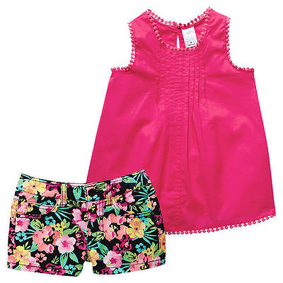 NWT Target Girls Raspberry Crochet Top Floral Shorts Summer Outfit Set Size 5