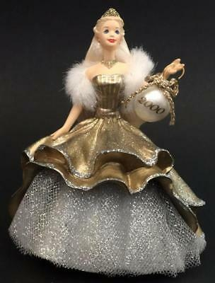 2000 Celebration Barbie Hallmark Ornament Ice Special Edition Gold Dress #1
