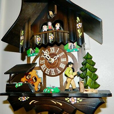 Vintage Black Forest Cuckoo Clock Movement Inside Mantle