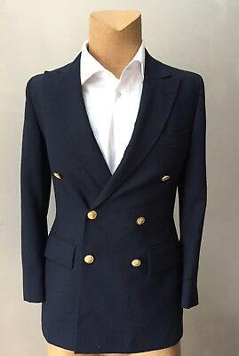 Men's Double Breasted Gold Button Sports Blazer Coat Slim Fit Vented Custom 38S