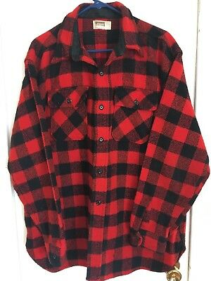 Vintage 1960's Montgomery Ward Men's Red Wool Hunting Flannel Shirt