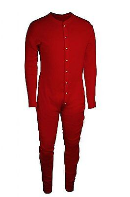 Essential Apparel Waffle Knit Heavyweight Cotton Red Thermal Union Suit