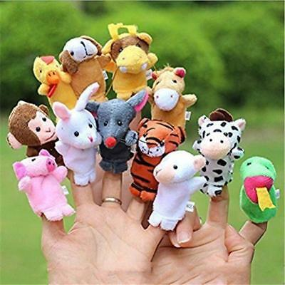 12Pcs Family Finger Puppets Cloth Doll Baby Educational Hand Cartoon Animal Toys