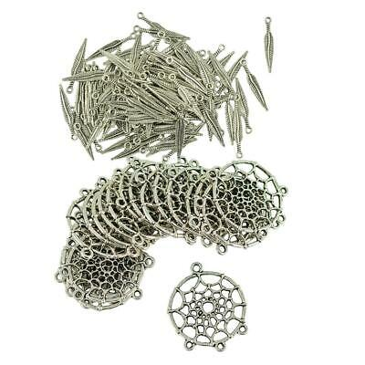 120pcs Dreamcatcher Connector Charms Feather Leaf Pendants Jewelry Findings