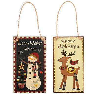 2pcs Snowman Deer Wooden Sign Plaque Merry Christmas Home Wall Hanging Board
