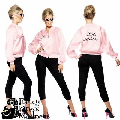Official Grease Pink Ladies Jacket from Smiffys | Sandy Rizzo Frenchie Marty Jan