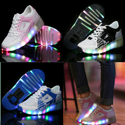 LED Light Wheel Roller Skate Trainers Jazzy Shoes Kids Boys Girls Up Sneaker
