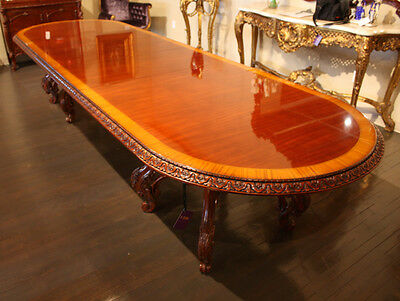 High end 12' mahogany traditional carved 2 pedestal formal dining table seats 12