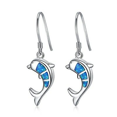 LANMPU Sterling Silver Dolphin with Blue Green Fire Opal Inlay and Cubic