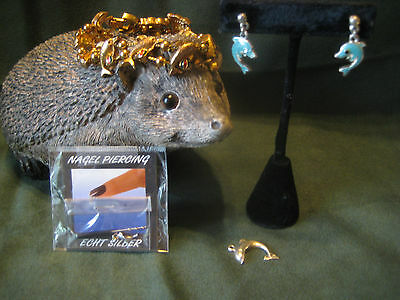 DOLPHINS Jewelry LOT slide bracelet earrings Sterling Silver fingenail charm FAS