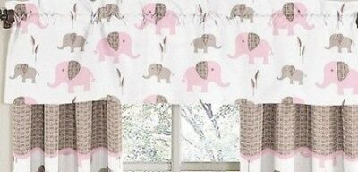 Pink and Brown Mod Elephant Window Valance by Sweet Jojo Designs. Brand New