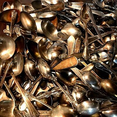 SPOONS 210qty 12.5lbs VINTAGE SILVER PLATE FLATWARE LOT CRAFT ART JEWELRY q38H