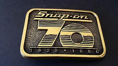 Vintage Collectible Snap On Tools 70th Anniversary Solid Brass Belt Buckle - NOS