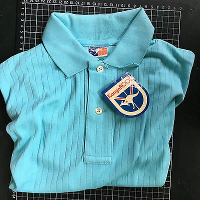 Vintage 80s Australian CYAN BLUE POLO SHIRT Kangaroos Brand New Old Stock XL