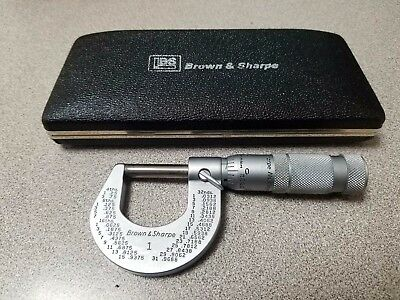 Brown & Sharpe Slant Line Micrometer 599-1 0 to 1 inch  by .0001 Fixed friction