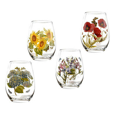 Portmeirion Botanic Garden Stemless Wine Glasses Set of 4 Assorted Motifs