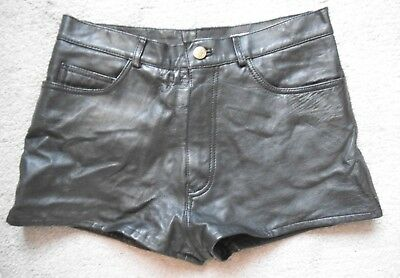 VINTAGE LEATHER SHORTS black by BLUE RINSE gipsy hotpants