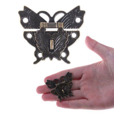Butterfly Buckle Hasp Wooden Box With Lock Buckle Antique Zinc Alloy PadlockBLUJ