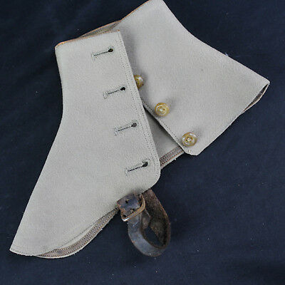 Antique Vintage Wool Nunn Bush England Spats Gaiters Pair Brown/Taupe Victorian