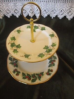 Lovely Vintage 'holly And The Ivy'  English China Plated  2 Tier Cake Stand