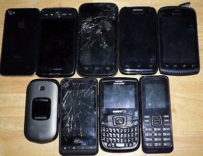 Lot of 9 - (2 POUNDS) of  Cell Phones for Repair or Scrap Gold Recovery