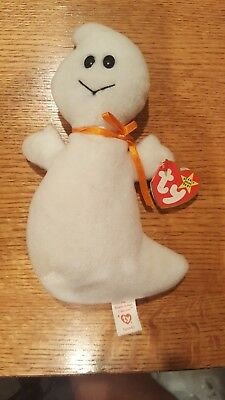 "Spooky The Ghost Ty Beanie Babies Halloween 1995 Retired Plush 9"" Stuffed Animal"