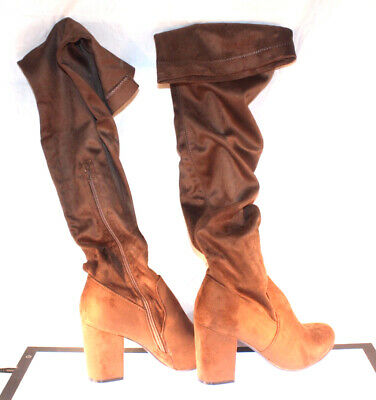 aaca6e19954f BOOHOO LILLY BLOCK Heel Over the Knee Boot Mocha Suede sz US 9 UK 7 ...
