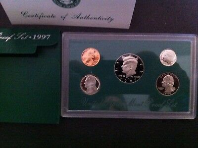 1997-S Proof Set United States US Mint Original Government Packaging Box & COA