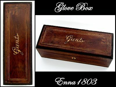 Antique French Rosewood & Marquetry Glove Box Nap III Period