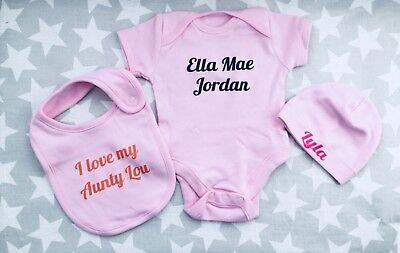 Newborn PERSONALISED baby girl pink clothing choice of vest bib or hat ANY NAME