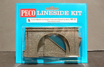 Model Train N Scale  Peco 2 Pairs of Tunnel mouths DOUBLE TRACK + 4 Walls NB-32