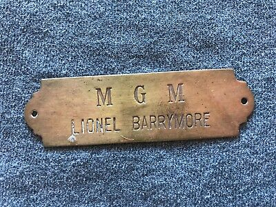Authentic Lionel Barrymore Actor Used Mgm Door/chair Tag 1930's