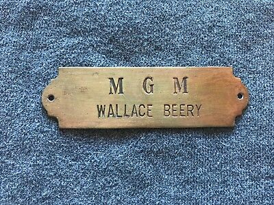 Authentic Wallace Beery Actor Used Mgm Door/chair Tag 1930's