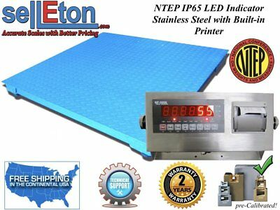 "NEW NTEP Legal Industrial 48"" x 48"" 4' x 4' Floor scale 10,000 x 2 lb w. Printer"