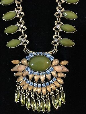 Fascinating Necklace Copper Ancient Egyptian Look Olive Green Blue VGUC