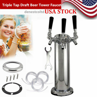 Triple Tap Draft Beer Tower Faucet Stainless Steel For Kegerator Homebrew TOP US